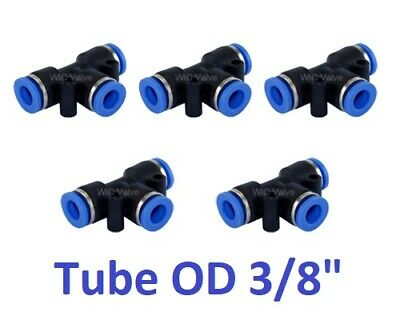 """5pcs Pneumatic Tee Union Connector Tube OD 3/8"""" Air Tube Quick Release Fitting"""