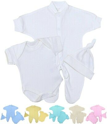 BabyPrem Premature Preemie Tiny Baby Clothes 3 Piece Set Sleepsuit Vest & Hat