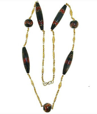 Extremely Rare Art Deco Necklace In Gold And Aventurine Glass Beads.