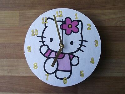 Hello Kitty - Wave - Wooden Clock  - Free Postage
