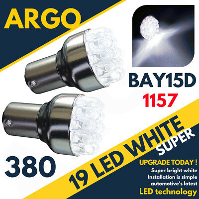 380 White 19 Led Front Sidelight Bulbs Lamps 1157 Bay15D P21/5W Pair 12V