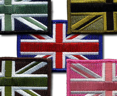 5 x TRF Union Jack Flag Patch 100% Embroidered, Merrow, Velcro/Iron on/Sew on