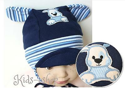 Cute Baby Boy Toddler Hats with Ear Muffs and Dog Pattern Blue Size 3-12 M