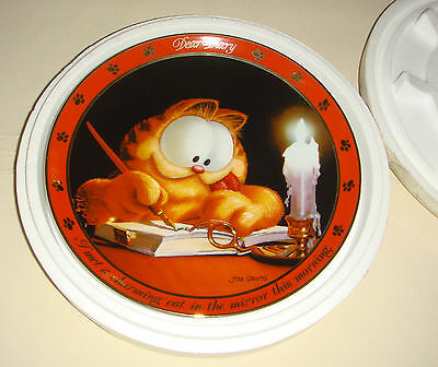 JIM DAVIS Garfield Dear Diary Records Diary By Candle Light CHARMING CAT Plate