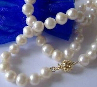 """Beautiful!8-9mm White, Akoya Cultured Pearl Necklace 18 """"A+"""