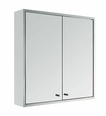 Stainless Steel Double Door Wall Mount Bathroom Cabinet Storage Cupboard Mirror