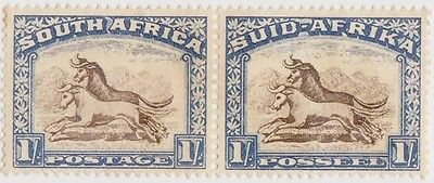 (RSA132)1926SouthAfrica1/-blue&brown joinedpairMNG ow36