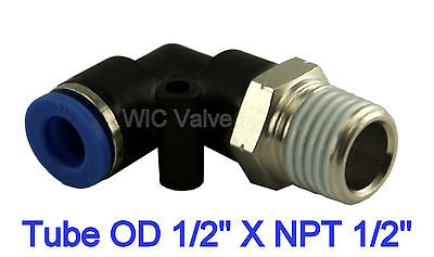 """Pneumatic Male Elbow Connector Air Push In Fitting Tube OD 1/2"""" X NPT 1/2"""" 5pcs"""