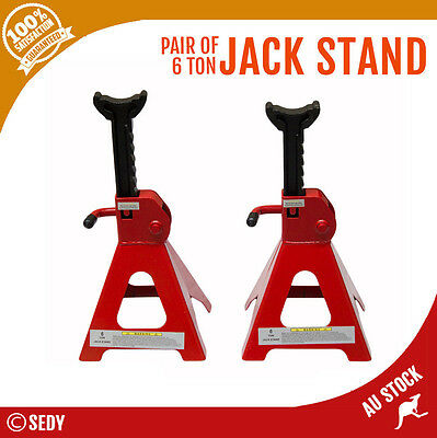 NEW 2x 6 TON 6000kg 12000LB JACK STAND HEIGHT ADJUSTABLE HEAVY DUTY STEEL BODY