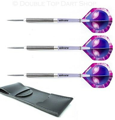 Nodor Purple Tiger Tungsten Darts + Winmau Flights + Unicorn Stems + Case 19-30g