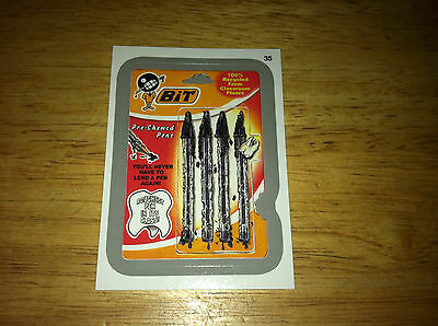WACKY PACKAGES ANS11 11 SILVER STICKER BIT BIC CHEWED PENS 35 VERY 1970'S ART !!