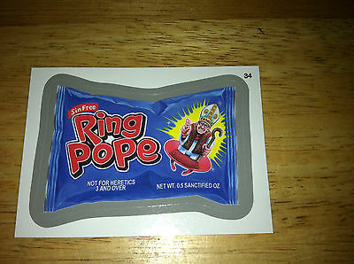 WACKY PACKAGES ANS11 11 SILVER STICKER RING POPE 34 POP RARE RELIGIOUS WACKY USA