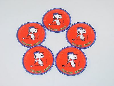 """Vintage Lot of 5 Snoopy Peanuts """"You're Away"""" Golf Patches"""
