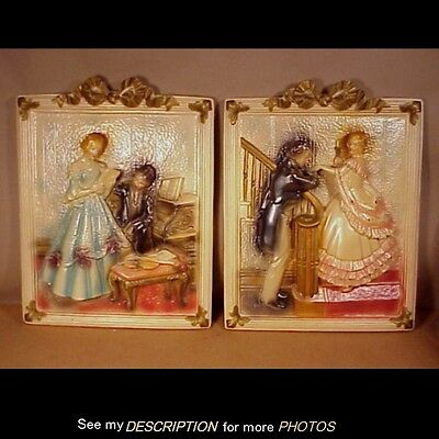 Circa 1943 Pair Large Relief Chalkware Courting Couples Wall Plaques