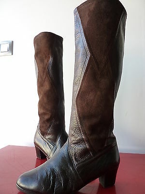 Bottes Boots Vintage 80 VTG EIGHTIES Brun CUIR LEATHER DAIM Taille 39 40