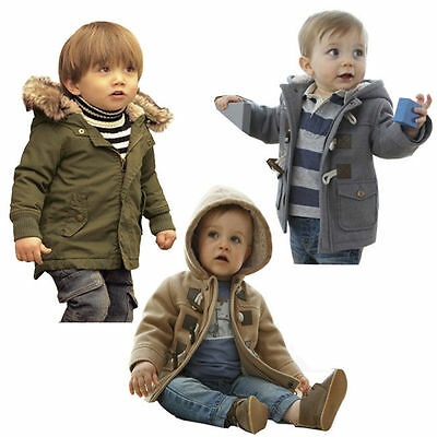 Toddler Boys Spring Winter Zipper Hooded Horn Button Coat Outerwear Jacket 3M-4Y