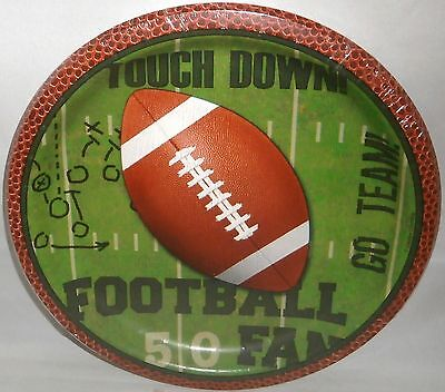 """Football Themed Paper Plates 8 3/4""""  Touchtown Ball 8 ct. Hot or Cold Food"""
