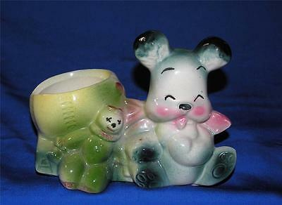 Vtg 1940's Ceramic Pottery Baby/shower Gift Planter, Pink Dk Green Puppy/clown