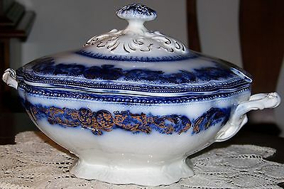 Wood & Sons England - Madras - Flow Blue w/ Gold Accents - Large Antique Tureen