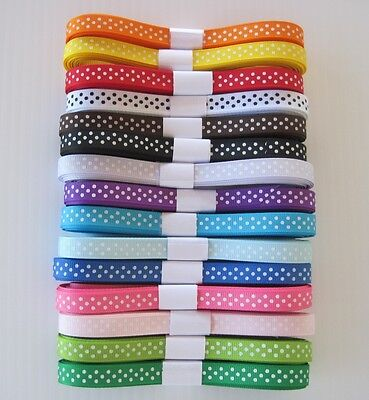 "3/8"" Grosgrain Ribbon SWISS DOTS lot of 30 Yards~15 colors"