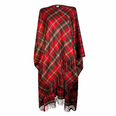 EDINBURGH CASHMERE 100% Luxury Cashmere Ladies Cape Tartan Dark Maple