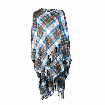 EDINBURGH CASHMERE 100% Luxury Cashmere Ladies Cape Tartan Stewart Muted Blue