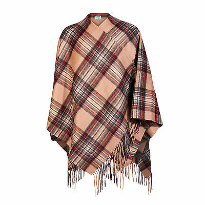 EDINBURGH CASHMERE 100% Cashmere Girls & Ladies Cape Tartan Stewart Camel