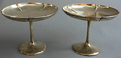 Arts And Crafts Pair of Sterling 925. Silver Kalo Hand Hammered Compotes
