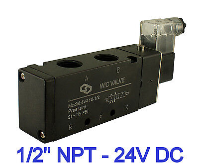 """1/2"""" Inch Pneumatic 4 Way Electric Directional Control Air Solenoid Valve 24V DC"""