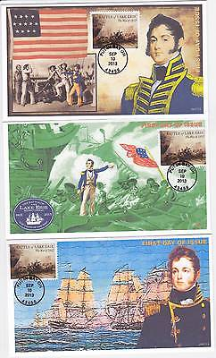 Jvc Cachets - Set Of 3 - 2013 Battle For Lake Erie Issue #3 First Day Cover Fdc