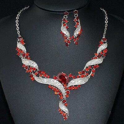 #7 Elegance Red Rhinestone Clear Crystal Wave Earrings Necklace Set Party Gift