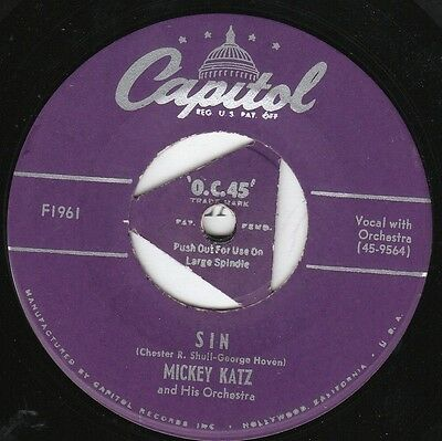 Mickey Katz NOVELTY 45 (Capitol 1961) Sin/Herring Boats W/center spindle VG++