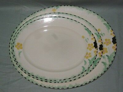 3 Burleigh Ware Oval Serving Platters    Pattern No. 5572