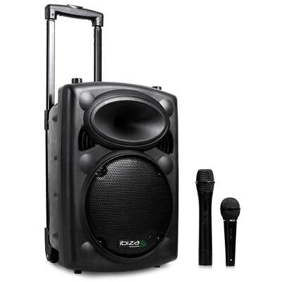 SONO PORTABLE Ibiza Port10VHF-N ENCEINTE PA MOBILE KARAOKE USB SD MP3 500W 2 MIC