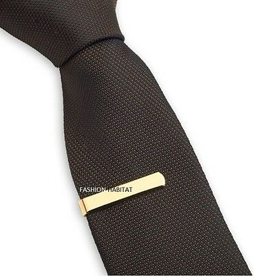 Mens Boys 3CM Gold Tie Bar Skinny Stainless Steel Clip Clasp Pin