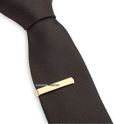 Mens & Boys 3CM Gold Tie Bar - Skinny Stainless Steel Clip - Wedding Clasp Pin