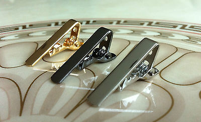 Mens 3CM Skinny Tie Bar x3 Set Silver Gold Grey Black Stainless Steel Clip Clasp