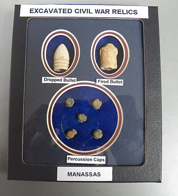 Identified Dug Civil War Relics- Dropped & Fired Bullet & Percussion Caps - NEW