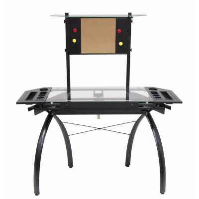 Drafting Table Drawing Table Adjustable Tilt Foot Levelers Glass Black MG