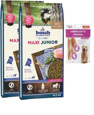 2x15kg Bosch Junior Maxi  + 80g Fleischsnacks