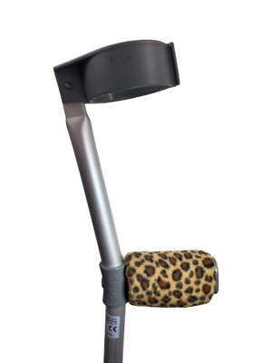 Crutch Handle Padded Covers HIGH QUALITY Cushioned Foam Pad- Leopard Print