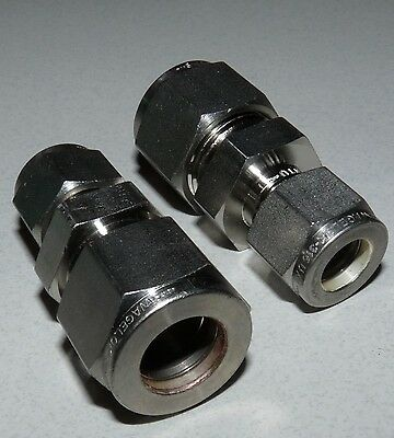 """Lot Of 2 New Swagelok Ss-810-6-6 Tube Fitting Reducing Union 1/2"""" X 3/8"""" Tube Od"""