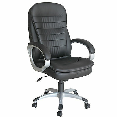 Luxury Black High Back Executive Office Chair Leather Computer Desk Furniture