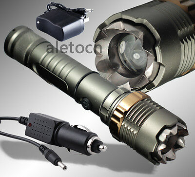 2200 Lm Zoomable CREE XM-L T6 LED 18650 Flashlight Torch Lamp +Car Charger