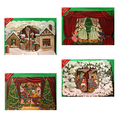 36 3D Die-cut Pull-out Christmas Cards of Festive Scenes XC0029