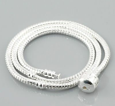 Children's Kid's Teen Adult European Charm Necklace Snake chain Silver plated A4