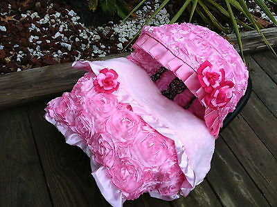 Set baby pink  infant car seat cover canopy cover Blanket fit most infant seat