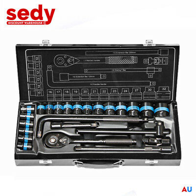 "NEW 24 Piece 1/2"" Drive Wrench Socket Set Ratchet Spanner Extension Adaptor CR-V"