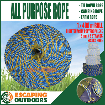 Telstra Rope 6mm 400 metre roll, 3 strand quality all purpose rope holds 590 kg