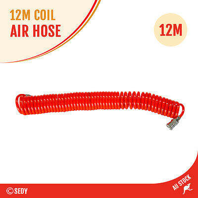 12m Coil Air Hose Recoil Heavy Duty 8x12mm Standard Nitto Type Quick Fittings